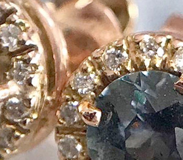 salies-jewellery - Teal Green Sapphire Halo earrings