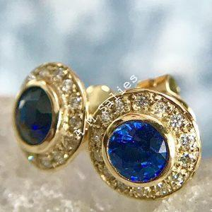 Salies-jewellery - Royal Blue Sapphire Halo earrings
