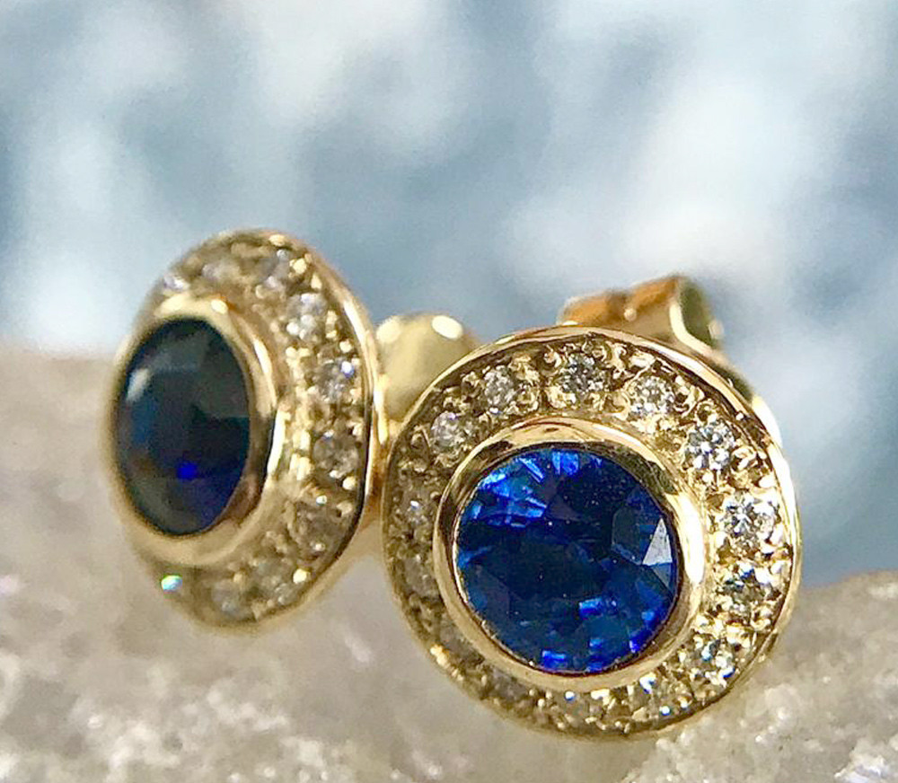 Salies-jewellery - Royal Blue Sapphire Halo earrings