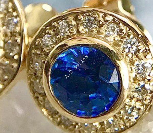 Salies-jewellery - salies-jewellery - oyal Blue Sapphire Halo earrings