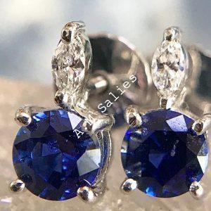 Royal Blue Sapphire diamond accent earrings