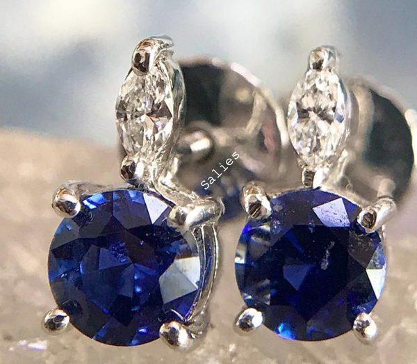 Royal Blue Sapphire diamond accent earrings