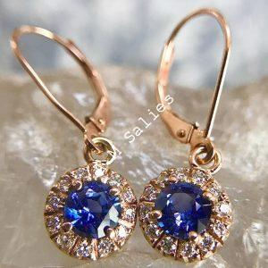 Salies-jewellery-Royal Blue Sapphire Halo earrings