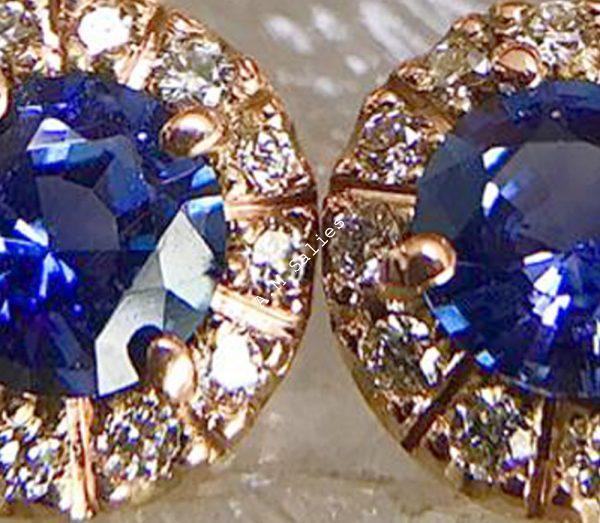 Salies-jewellery-Royal Blue Sapphire Halo earrings