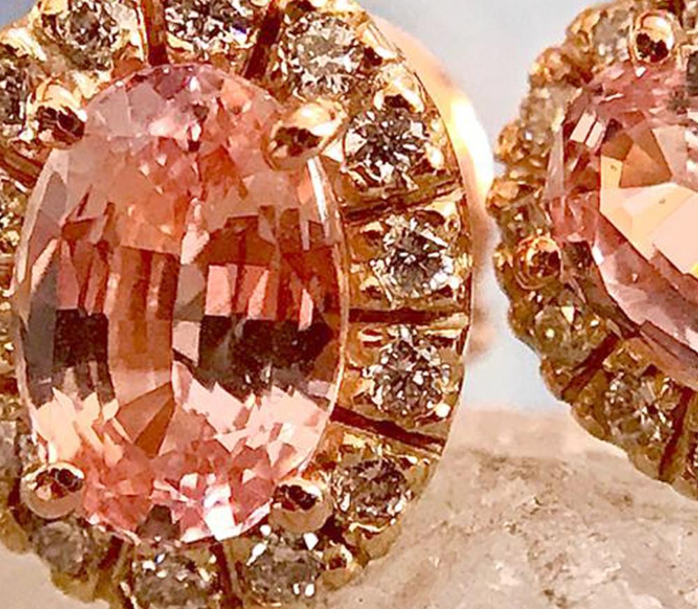 Salies-jewellery-Padperajah Sapphire Halo earrings