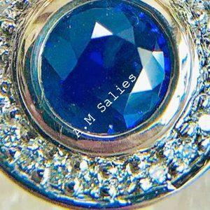 Salies-jewellery-Royal Blue Sapphire Halo Pendent