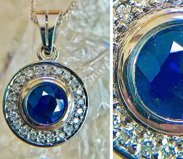 Salies-jewellery-Royal Blue Sapphire Halo Pendent
