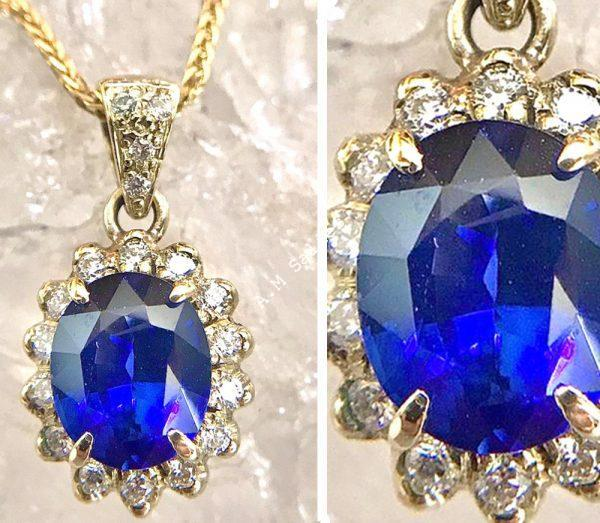 salies-jewellery-Royal Blue Sapphire Classic cluster Pendent