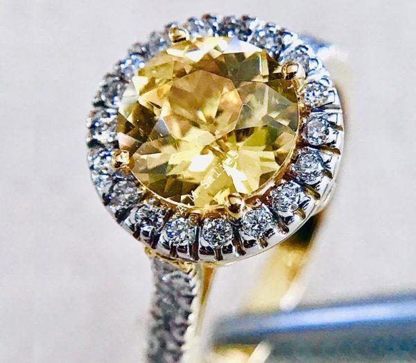 Salies jewellery-Yellow Sapphire Halo Ring