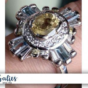 Salie Jewellery – 14 Palladium White Gold Ring studded with Yellow Sapphire, Blue Topaz and Diamonds