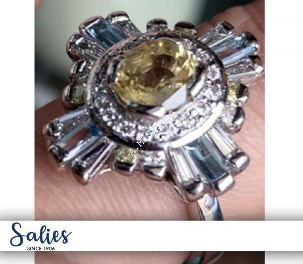 Salie Jewellery - 14 Palladium White Gold Ring studded with Yellow Sapphire, Blue Topaz and Diamonds
