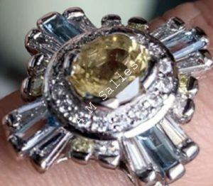 Salie Jewellery - 14 Palladium White Gold Ring studded with Yellow Sapphire, Blue Topaz and Diamonds