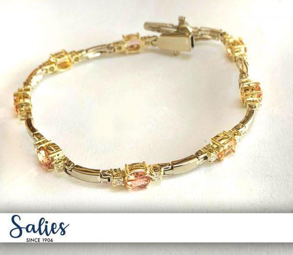 Salies Jewellery Combination Yellow and White Gold 14 karat Gold Bracelet