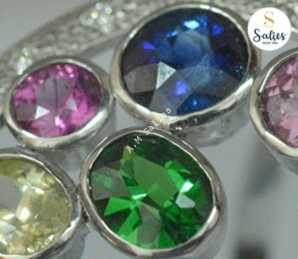 Salies bespoke ring with colorful multiple stones