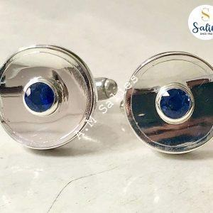 Blue Sapphire Cufflinks in White Gold