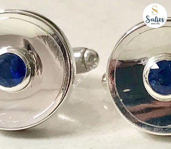 Blue Sapphire Cufflinks in White Gold