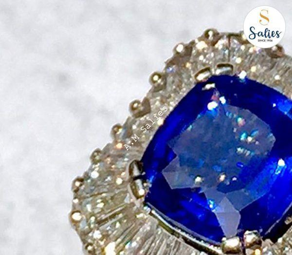 Blue Sapphire and Tapering Baguette Diamonds in white gold ring