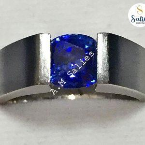 Blue Sapphire in Matt Finish ring