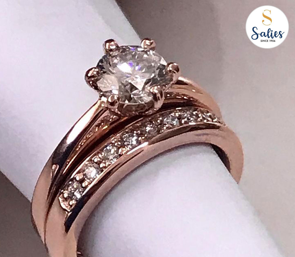 Diamond engagement ring set by Salies jewellery