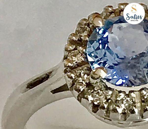 Ice Blue Sapphire Halo Diamond-ring