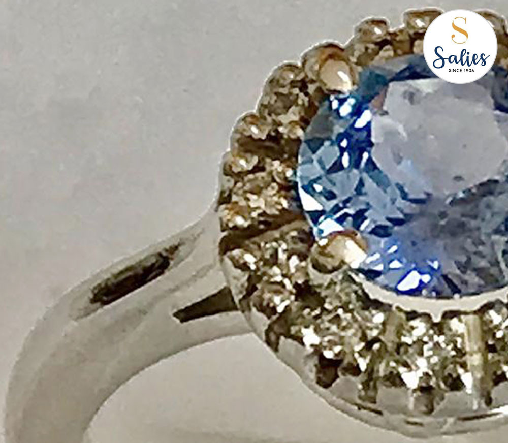 Ice Blue Sapphire Halo Diamond-ring