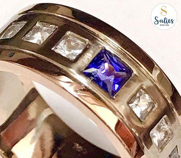 Mens Combination Gold and Sapphire wedding ring