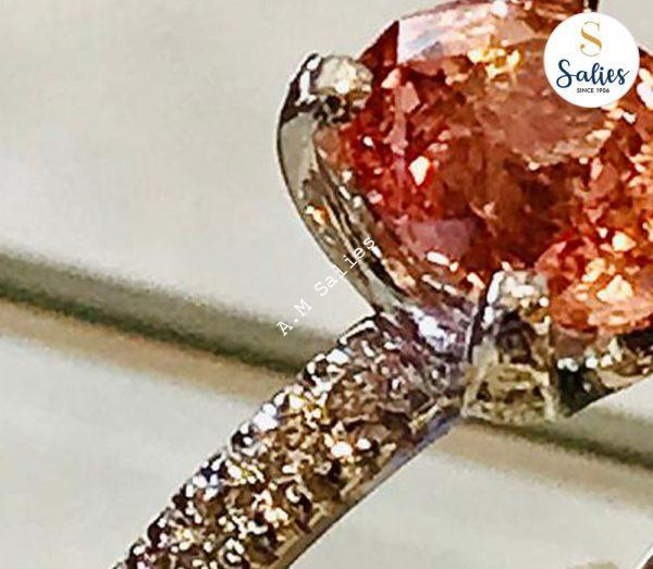 Padperajah stone in a white gold ring