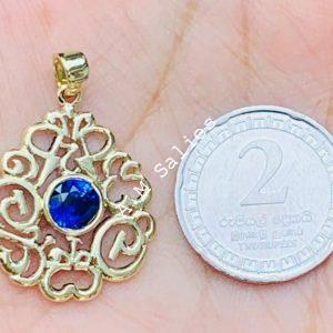 14 karat Yellow Gold with 14 karat Chain And Blue sapphire 1.26 carat