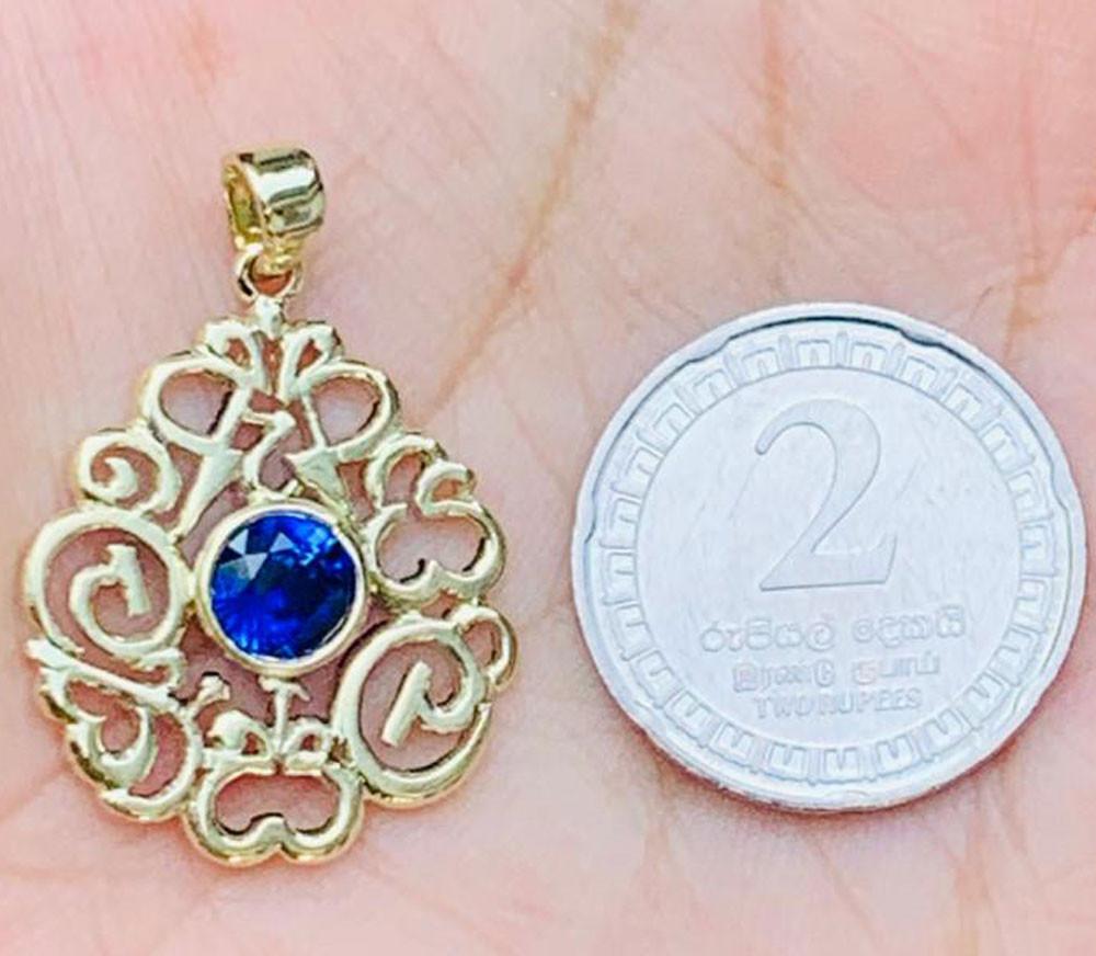 14 karat Yellow Gold with 14 karat Chain And Blue sapphire 1.26 carat