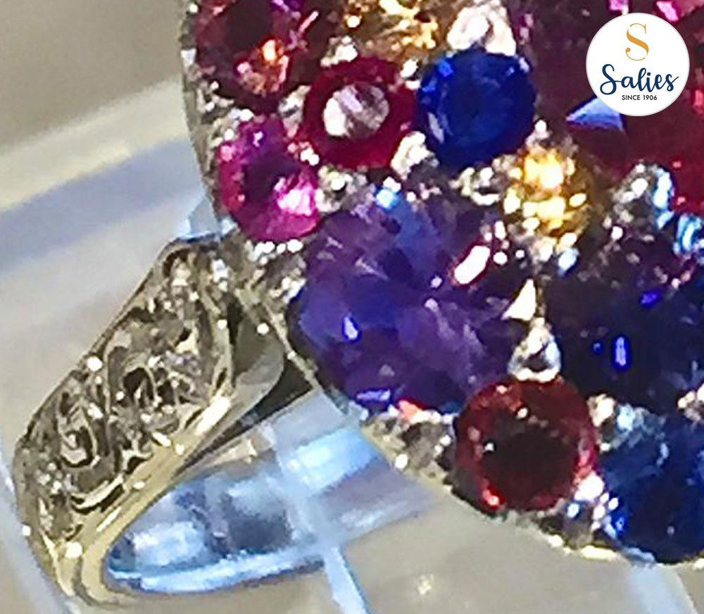 The sapphire fruit basket ring