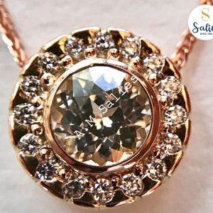 Yellow sapphire halo pendant from salies jewellery sri lanka