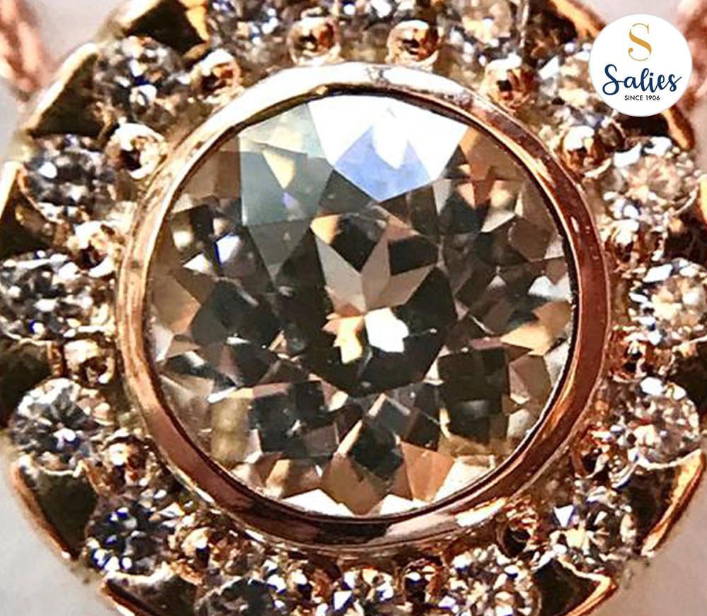 Yellow sapphire halo pendant from salies jewellery sri lanka