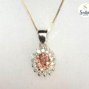 Salies jewellery 14 k Pendent with Padperajah and Diamonds