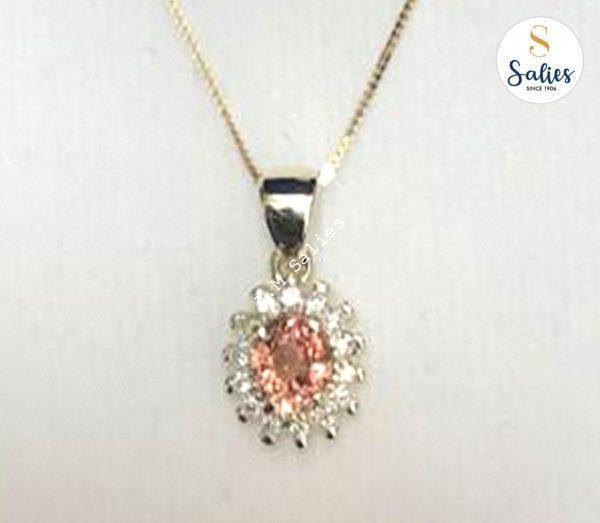 Salies jewellery 14 k Pendent with Padperajah and Diamonds