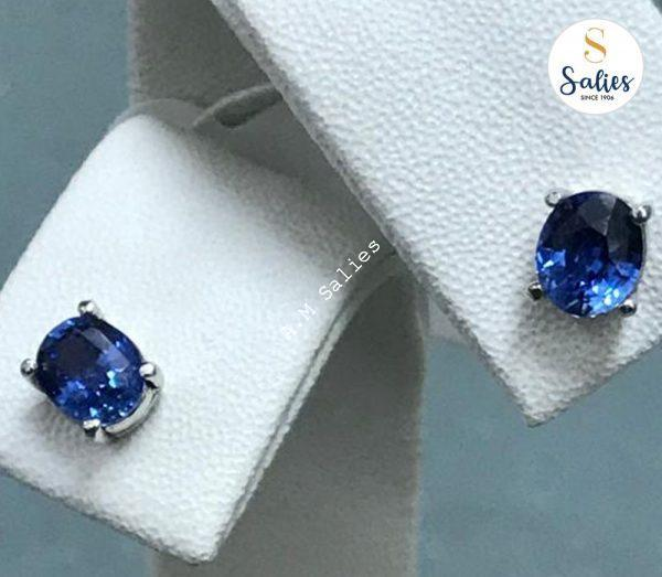 14k White Gold Earrings Set with Genuine Blue Sapphire