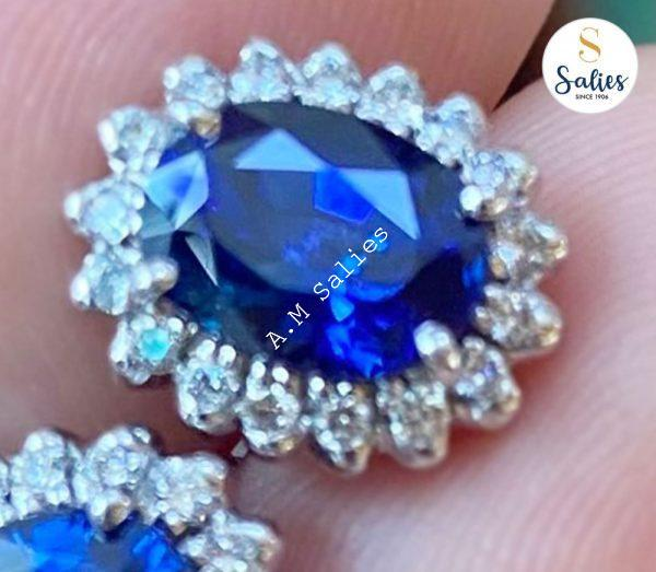 14k White Gold Earrings with Ceylon Blue Sapphires and Diamonds