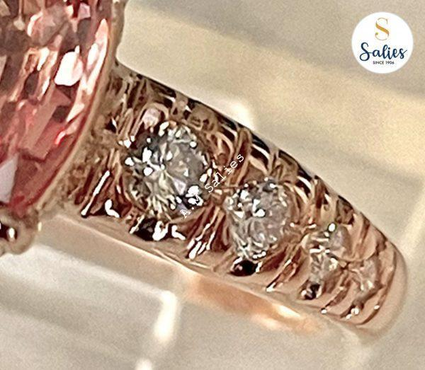 14 k Rose Gold Ring with Padperajah Sapphire and Diamonds