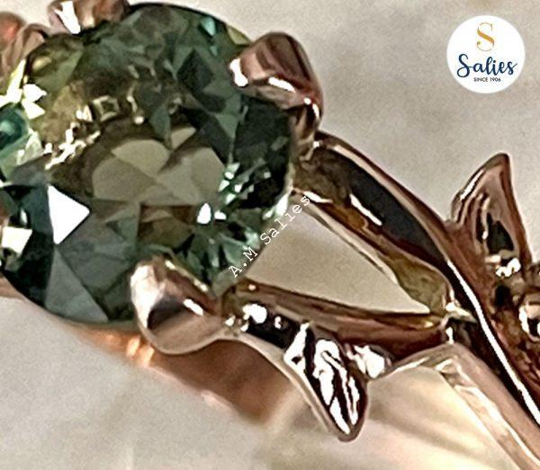 14 k Rose Gold Rind with Green Sapphire and Diamond