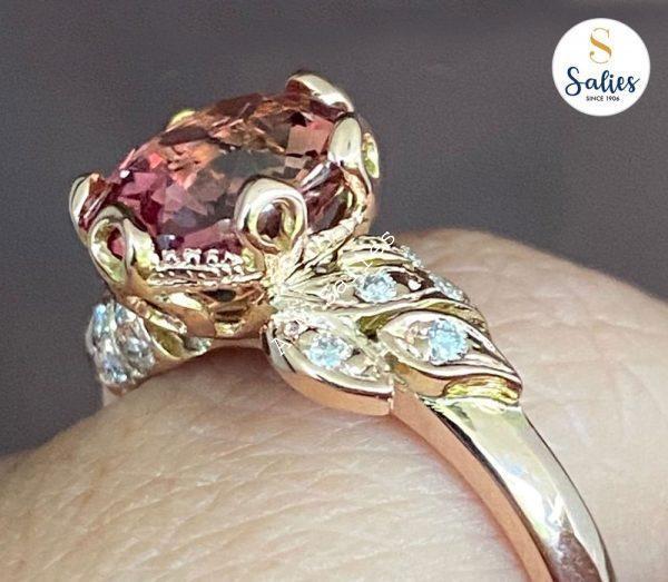 14k Rose Gold Ring with Padperajah and Diamonds