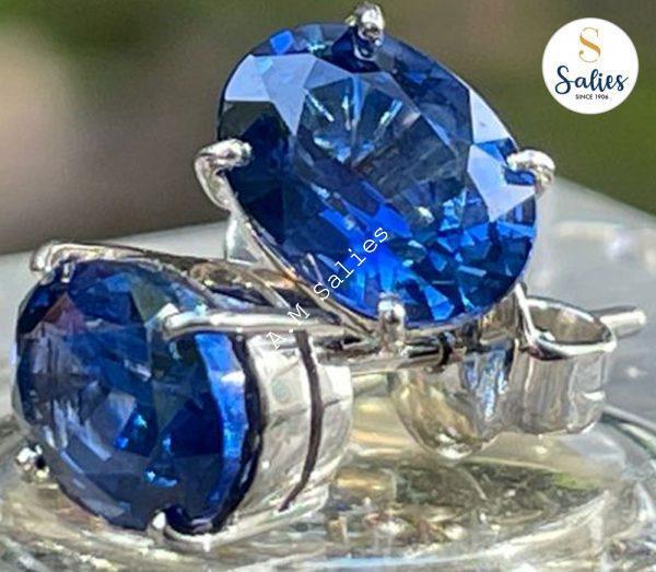14k White Gold Ceylon Blue Sapphire Earrings